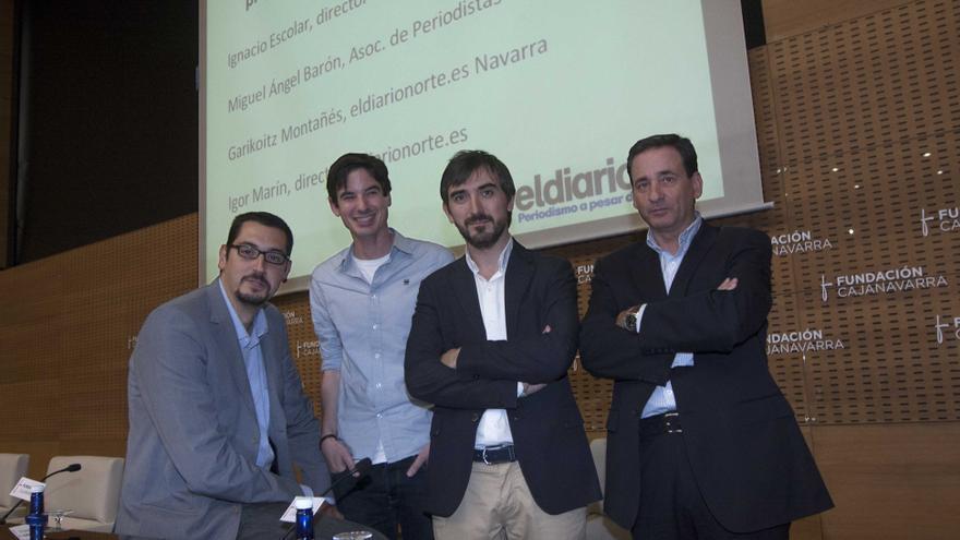 Marín, Montañés, Escolar y Barón, antes de la presentación de eldiarionorte Navarra / eldiarionorte.es