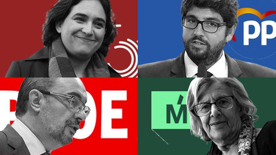 Montaje con Ada Colau, Javier Lambán, López Miras y Manuela Carmena