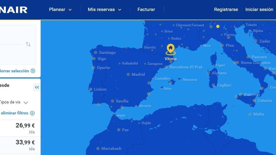Mapa de Europa de Ryanair