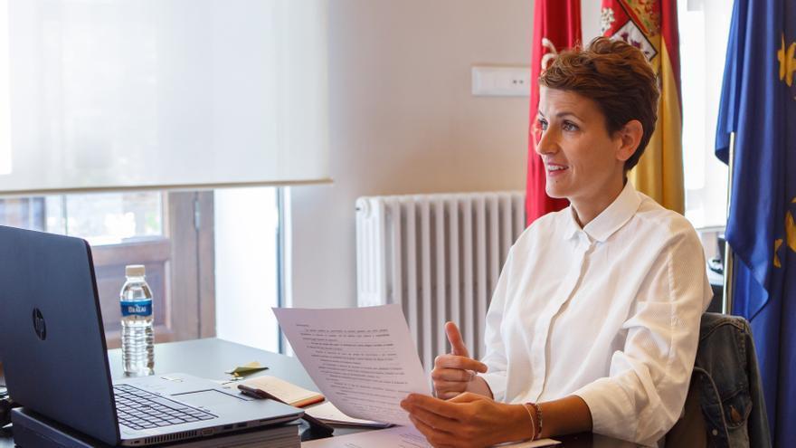 María Chivite durante una de las conferencias telemáticas de presidentes celebradas durante el estado de alarma