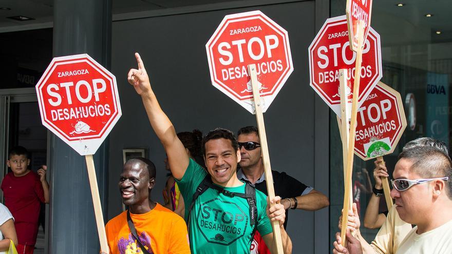 Manifestación de Stop Desahucios. Pablo Ibáñez/Arainfo
