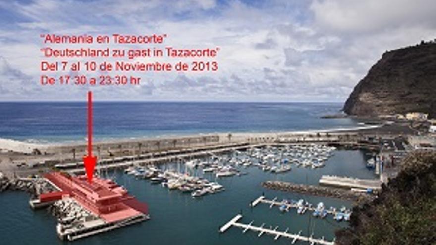 La flecha indica en lugar donde se celebrará, en el puerto deportivo, la feria 'Alemania en Tazacorte'.
