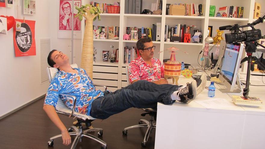 Pau Garcia-Milà y Andreu Buenafuente durante el rodaje del videoblog 'Verano Amarillo' (Foto: Bananity)