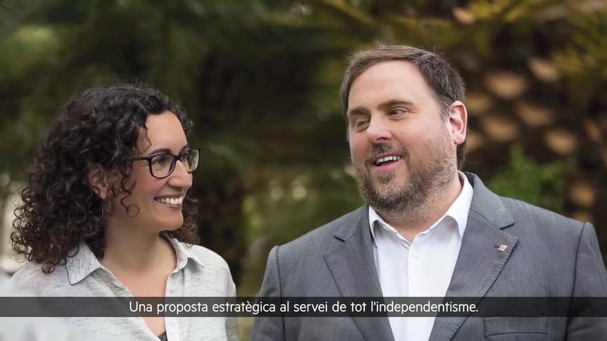 Archivo - Imagen de Marta Rovira y Oriol Junqueras durante el acto por videoconferencia de presentación de su libro 'Tornarem a vèncer (i com ho farem)'. ARCHIVO.
