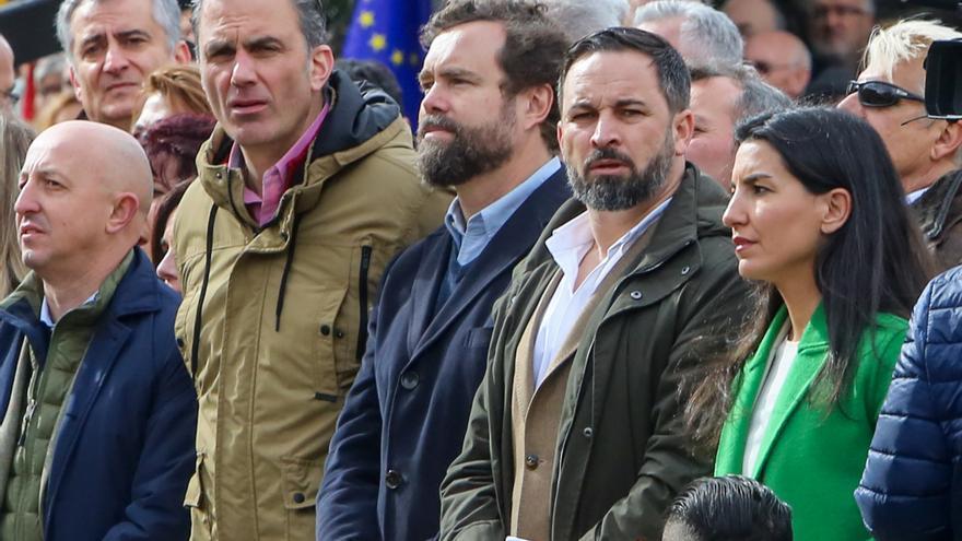 Santiago Abascal, Javier Ortega-Smith, Rocío Monasterio e Ivan Espinosa de los Monteros en la concentración bajo el lema 'Por una España unida'