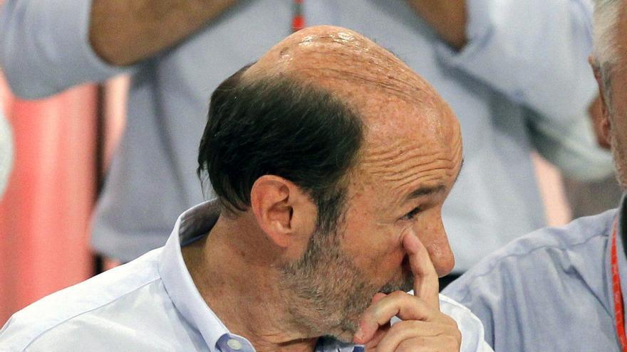 Alfredo Pérez Rubalcaba durante el Congreso extraordinario en el que se eligió a su sucesor, Pedro Sánchez, en julio de 2014