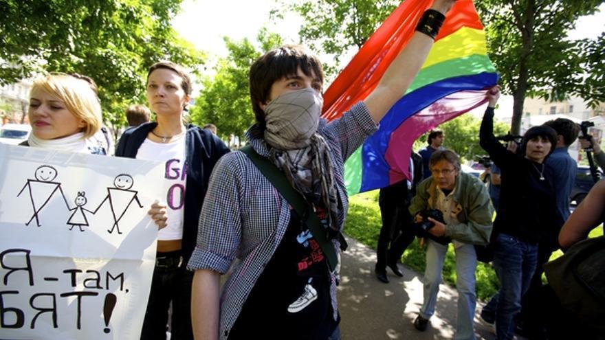 Marcha en defensa de los derechos de la comunidad LGBTI en Moscú en mayo de 2010. ©  Charles Meacham/Demotix