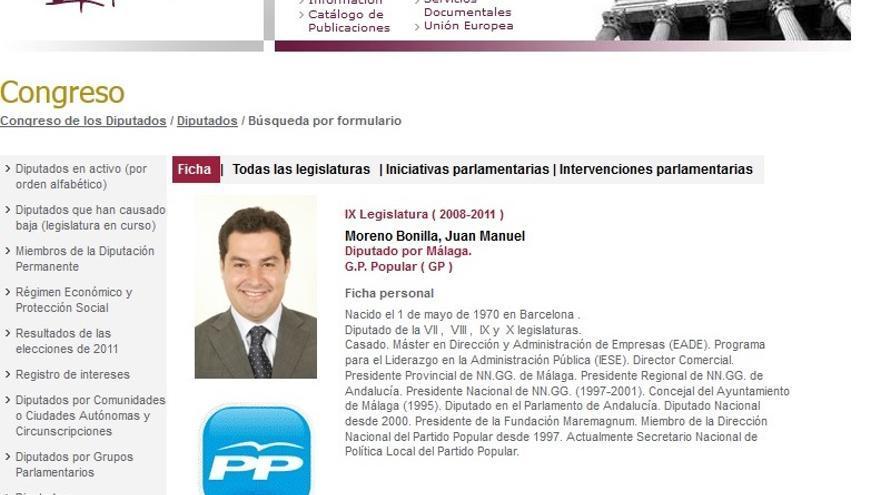 Currículum oficial del Congreso de los Diputados de Juan Manuel Moreno Bonilla (2008-2011)