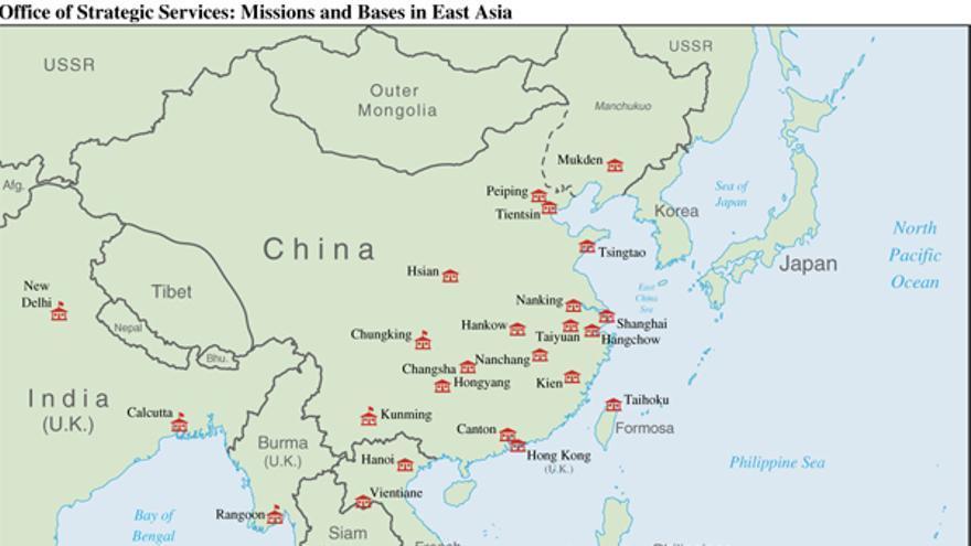 Misiones y bases de la OSS en el sudeste asiático en septiembre de 1945 (https://www.cia.gov/library/publications/intelligence-history/oss/pg_36.jpg/image.jpg).