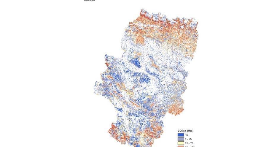 Mapa de sumideros de carbono de carácter vegetal elaborado por el Gobierno de Aragón. En azul, las zonas que menos CO2 absorben.