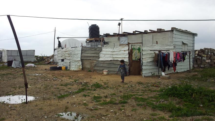 Caravanas y chabolas de desplazados en Gaza.   Isabel Pérez.