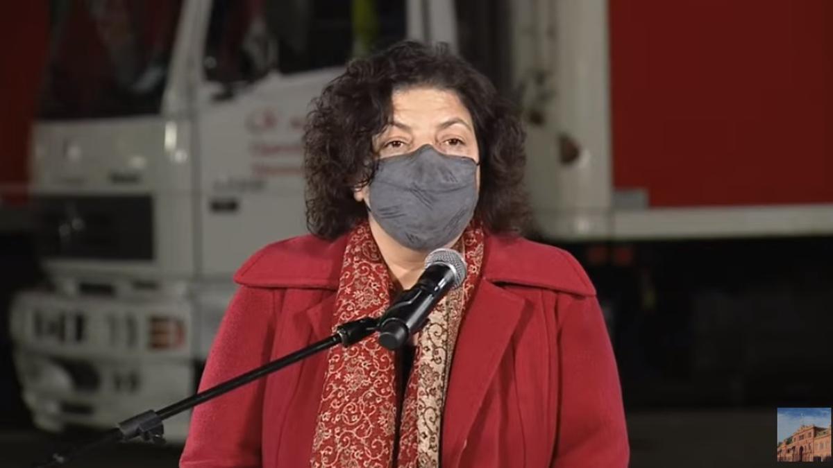 La ministra de Salud, Carla Vizzotti, durante la conferencia de prensa.