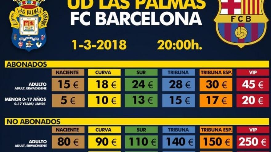 Precios de las entradas entre Las Palmas y el Barcelona