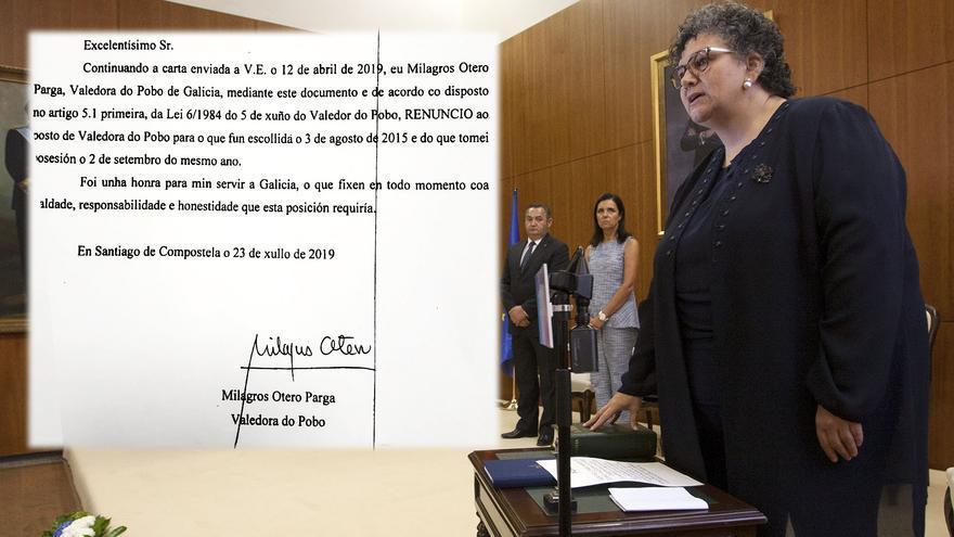 La ex Valedora el día de su toma de posesión en 2015 y fragmento de su carta de dimisión en 2019
