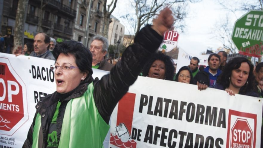 Manifestación de la Plataforma de Afectados por la Hipoteca (PAH).