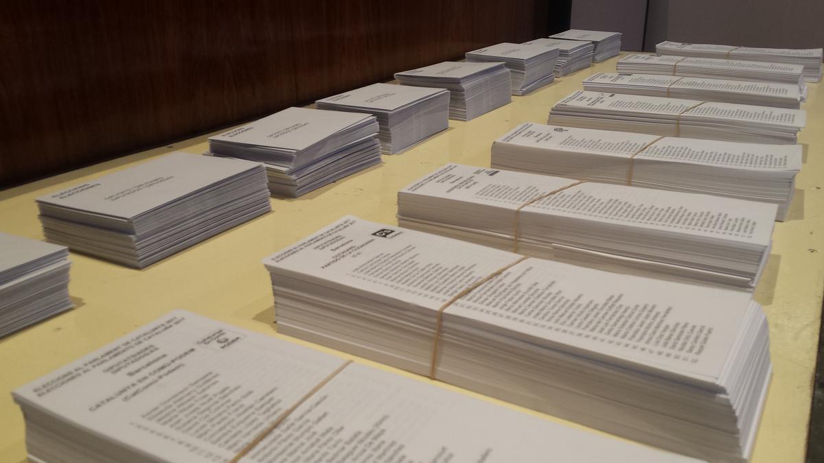 Papeletas para las elecciones al Parlament en Catalunya.