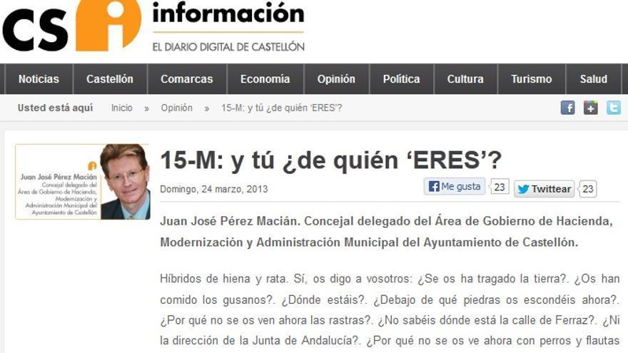 Artículo de opinión de Juan José Pérez Macián contra el 15M