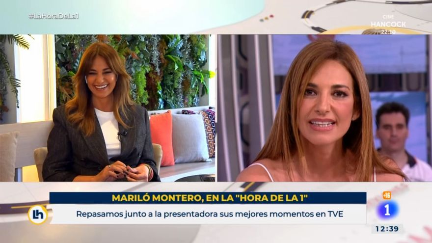 Mariló Montero (izq) observa el vídeo de su despedida en TVE