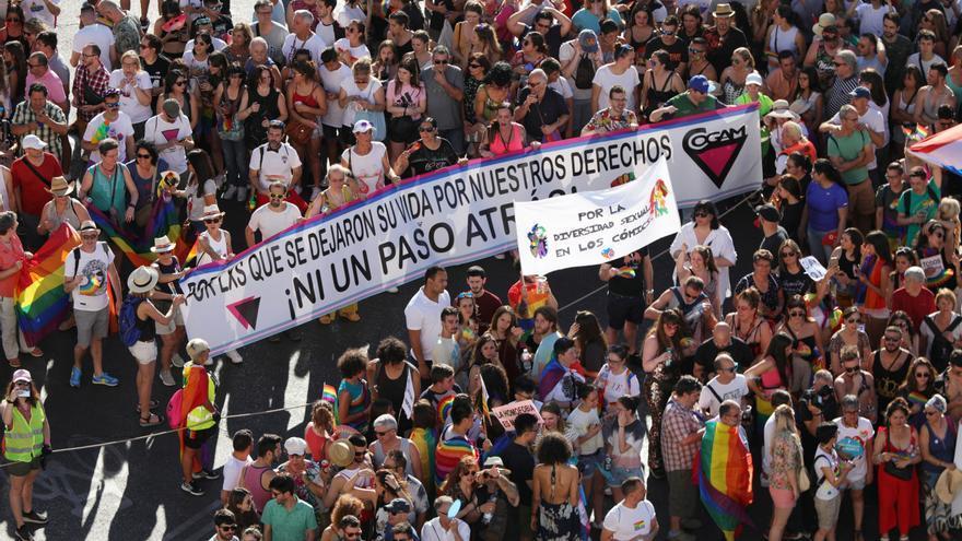 Una de las pancartas del Orgullo de Madrid 2019. JESÚS HELLÍN