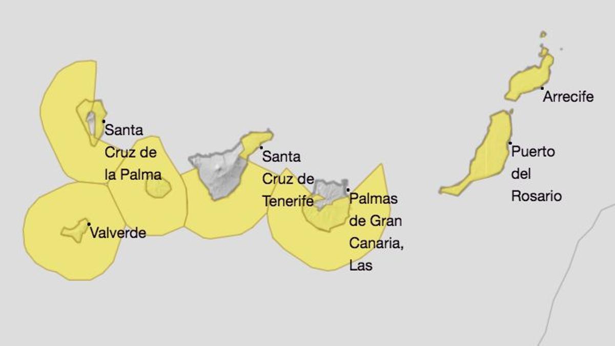 Mapa de la Aemet de los avisos de riesgo por viento y olas para este viernes.