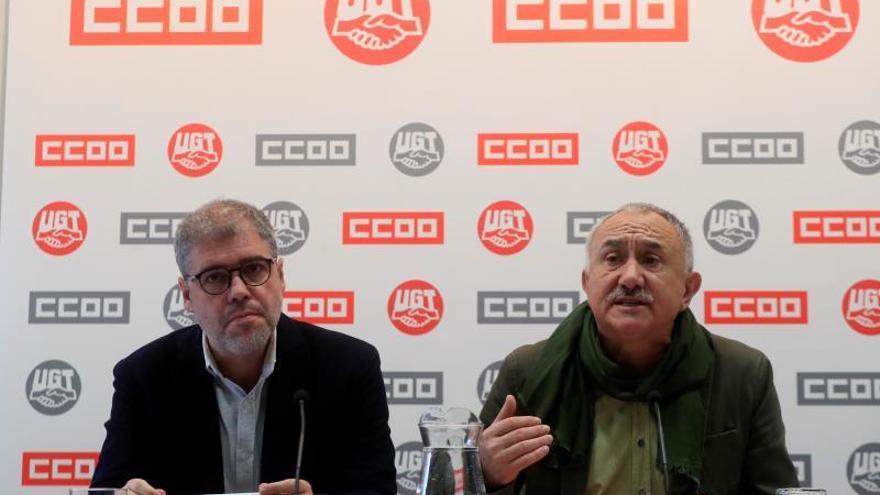 Los secretarios generales de CCOO, Unai Sordo, y de UGT, Pepe Álvarez, e una imagen de archivo.
