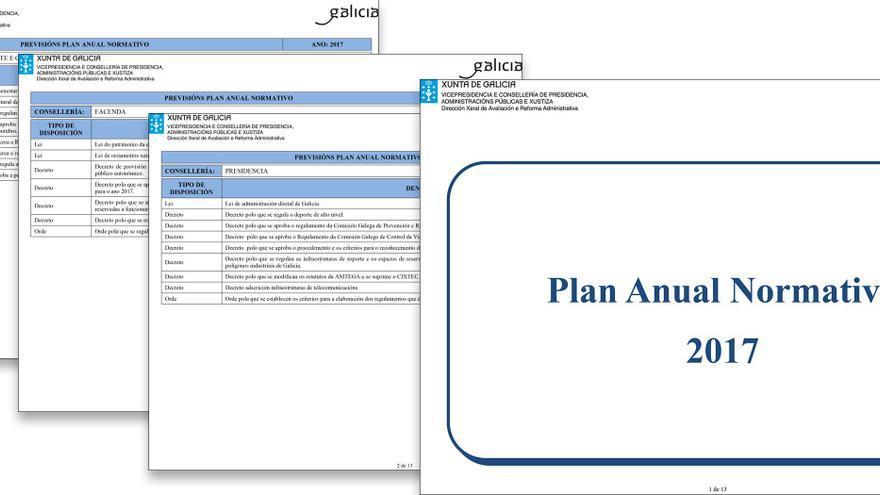Plan Normativo 2017 con las previsiones de la propia Xunta de las leyes y decretos que quería aprobar