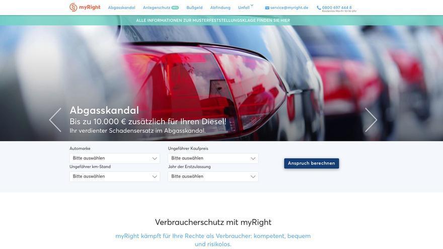 Página web de MyRight, donde miles de clientes de Volkswagen están llevando al fabricante de coches ante los tribunales.