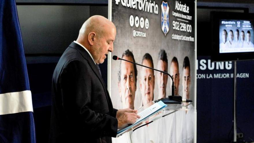 El presidente del Club Deportivo Tenerife, Miguel Concepción