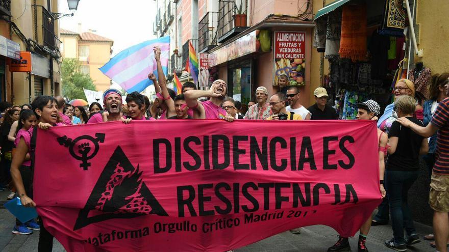"""""""Disidencias, resistencia"""", pancarta en la manifestación del Orgullo Crítico de Madrid de 2017."""