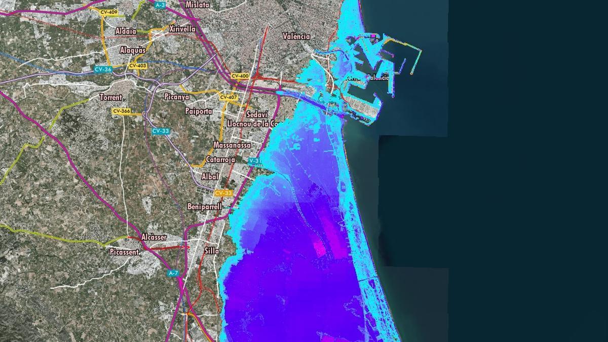 El visor desarrollado por la Generalitat prevé que en 2100 la Albufera se inundará cada vez que se produzcan fenómenos adversos.