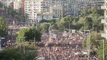 Manifestación masiva del independentismo en Barcelona para pedir la libertad de sus líderes