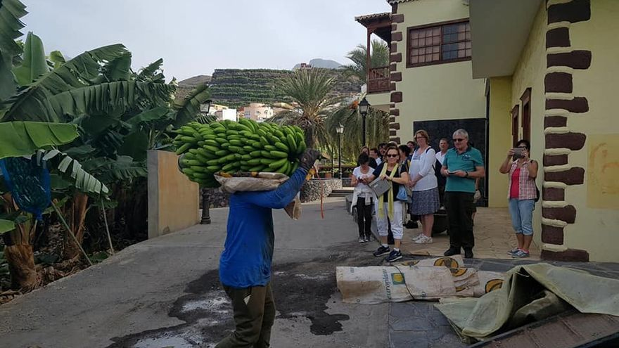 Visita de un grupo de turistas de Thomas Cook -Neckermann- al Museo del Plátano donde pueden conocer la etnografía bagañeta muy ligada a la historia del Plátano. (Foto cedida por el Ayuntamiento de Tazacorte).