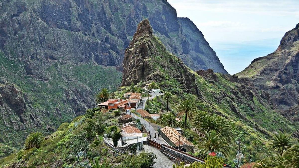 Vista del caserío de Masca, en Buenavista del Norte (Tenerife)