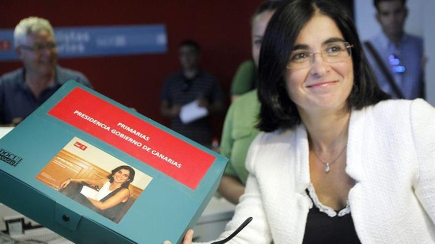 Carolina Darias durante la presentación de avales para las primarias del PSC-PSOE. (Efe).