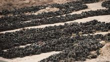 Imagen de archivo con neumáticos depositados en el complejo ambiental de Arico