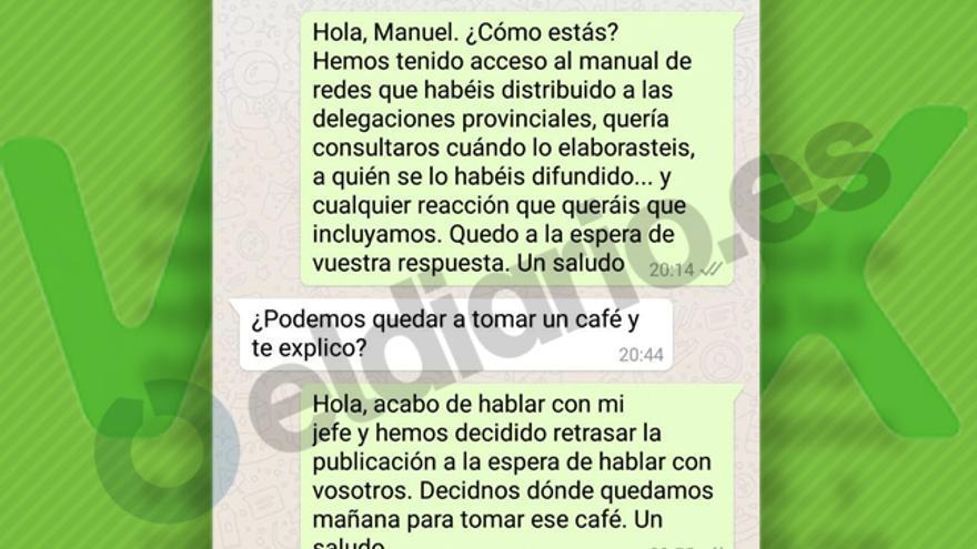 Pantallazo de la conversación mantenida por la redactora de eldiario.es y Manuel Mariscal, director de Comunicación de Vox, el pasado miércoles.
