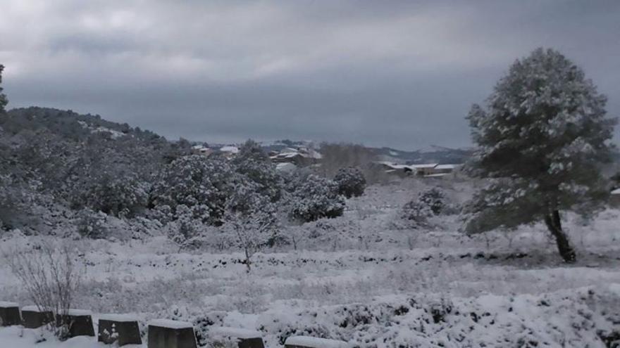 Una nevada en la Vall d'Alcalà en una imagen de archivo.