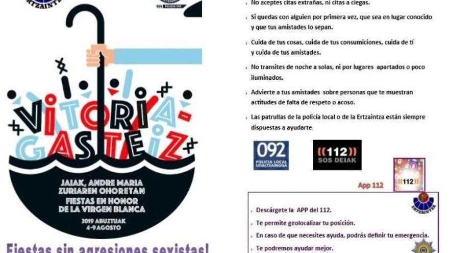 """Guía publicada por la Ertzaintza para """"prevenir"""" las agresiones sexuales durante las fiestas de Vitoria"""