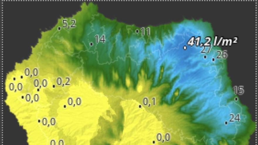 Mapa de HD Meteo La Palma de la lluvia caída, hasta las 16.10 horas de este lunes, 14 de octubre, en diversos puntos de La Palma.