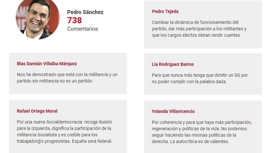 Comentarios de apoyo de militantes socialistas a Pedro Sánchez.