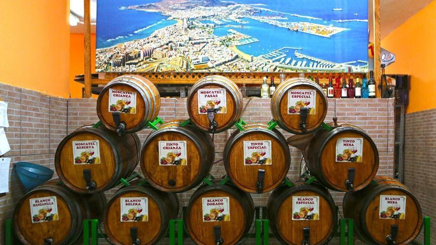 Barriles de vino canario.