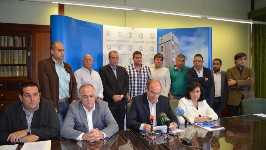 En la imagen, los miembros de la Junta de Portavoces del Cabildo y agricultores plataneros, este lunes.