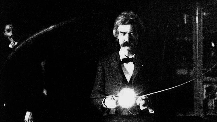 Twain visita el laboratorio de Nikola Tesla, otro visionario, en 1894 (Foto: Wikimedia Commons)