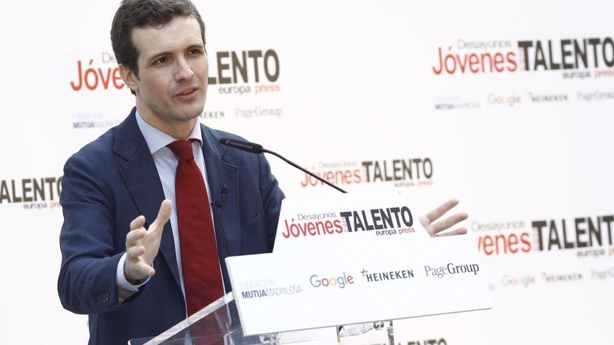 Pablo Casado, durante un momento de su intervención en el foro Jóvenes Talento, este martes en Madrid.