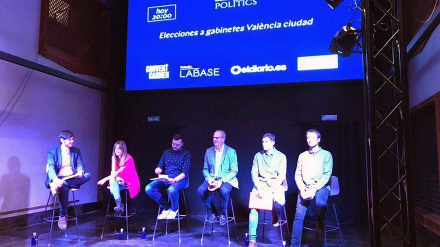 Los participantes en el debate entre los estrategas de los partidos con representación en el Ayuntamiento de Valencia