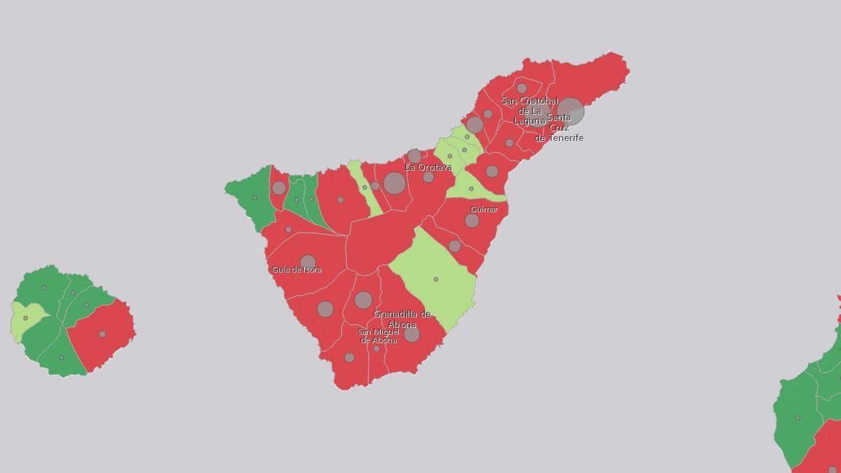 Mapa de casos en la isla de Tenerife, con fecha 13 de abril de 2021