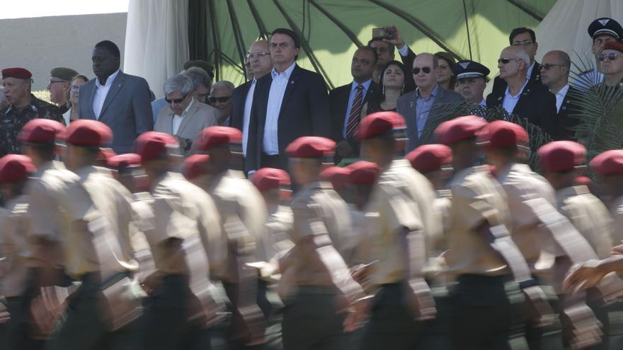 El presidente de Brasil, Jair Bolsonaro, el 27 de julio en una ceremonia de graduación del 26ª Batallón de Infantería Paracaidista, en la Villa Militar (Río de Janeiro).
