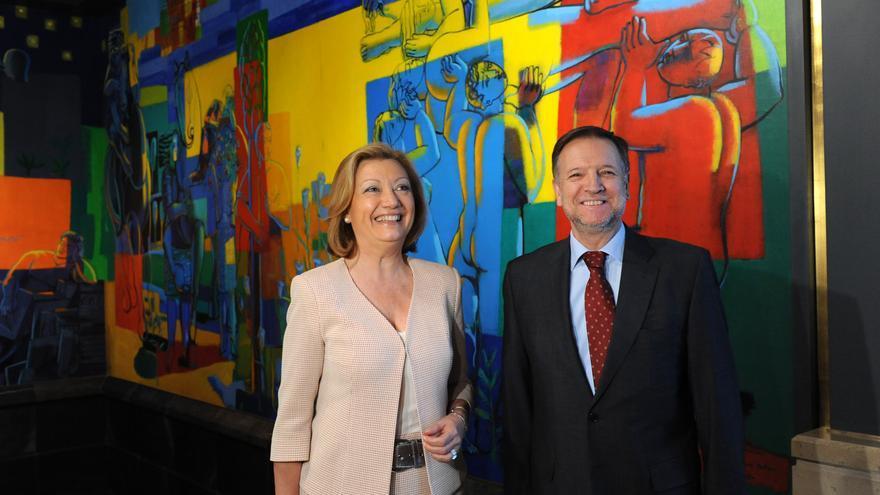 Los dos últimos presidentes de Aragón, Luisa Fernanda Rudi (PP) y Marcelino Iglesias (PSOE).