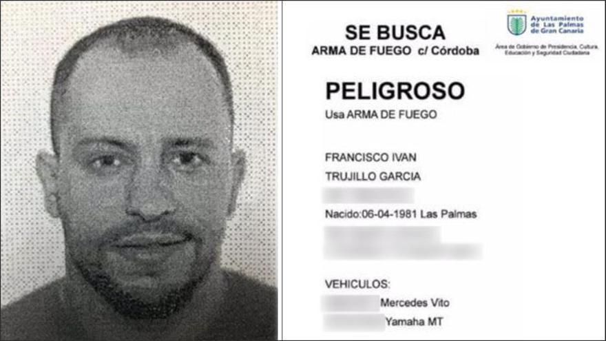 Ficha de la Policía Local de Las Palmas de Gran Canaria difundida entre sus agentes para alertar del sospechoso