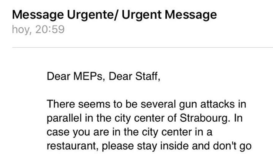 El mensaje enviado a los europarlamentarios tras el tiroteo